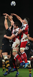 Ulster's Iain Henderson (centre) and Robbie Diack and Wasps' Joe Launchbury during the European Champions Cup pool one match at Kingspan, Belfast.