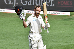 March 23, 2018 - Auckland, Auckland, New Zealand - Kane Williamson of Blackcaps celebrates scoring a century during Day Two of the First Test match between New Zealand and England at Eden Park in Auckland on Mar 23, 2018. (Credit Image: © Shirley/Pacific Press via ZUMA Wire)