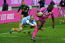 January 5, 2019 - Paris, France - Stade Francais Wing LESTER ETIEN score the first try of his team during the French rugby championship Top 14 match between Stade Francais and  Perpignan  at Jean Bouin Stadium in Paris - France..Stade Franais won 27-8 (Credit Image: © Pierre Stevenin/ZUMA Wire)