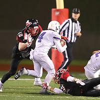(Photograph by Bill Gerth for SVCN) Westmont #15 Nolan Berry makes the tackle vs Soledad in the CCS Division 4 Championship Football Game at Independence High School, San Jose CA on 11/26/16.  (Westmont 13  Soledad 17)