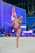 Demirors Derya during Qualification hoop World Cup Pesaro 2018. Demirors  is a Turkey athlete of rhythmic gymnastics born in Konak in 2002.