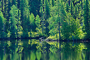 Chibougameau River reflection. Boreal forest<br />