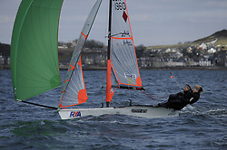 Day 1 of the RYA Youth National Championships 2013 held at Largs Sailing Club, Scotland from the 31st March - 5th April. ..1960, Vikki PAYNE, Stephanie, ORTON, Emsworth SC, 29er..For Further Information Contact..Matt Carter.Racing Communications Officer.Royal Yachting Association.M: 07769 505203.E: matt.carter@rya.org.uk ..Image Credit Marc Turner / RYA..