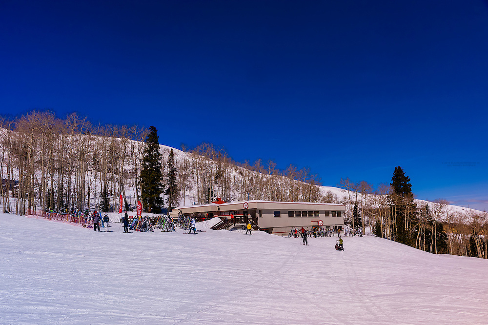 Ullrhof Restaurant (on the mountain), Snowmass/Aspen ski resort, Snowmass Village (Aspen), Colorado USA.