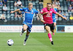 Jon Taylor of Peterborough United battles with Jamie Allen of Rochdale - Mandatory byline: Joe Dent/JMP - 07966386802 - 08/08/2015 - FOOTBALL - Spotland Stadium -Rochdale,England - Rochdale AFC v Peterborough United - Sky Bet League One