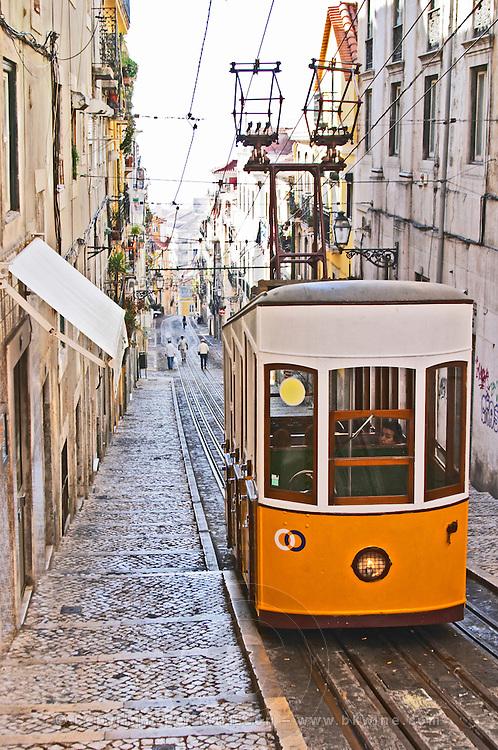tram  elevador da bica bairro alto lisbon portugal