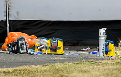 © Licensed to London News Pictures. 08/07/2018. Pisea, UK. Medical supplies at the scene where a man in his 20's was fatally stabbed at Little Garth, Pitsea. Despite best efforts at the scene by paramedics the man died shortly after at Basildon Hospital. Police believe this was a targeted attack. Photo credit : Simon Ford/LNP