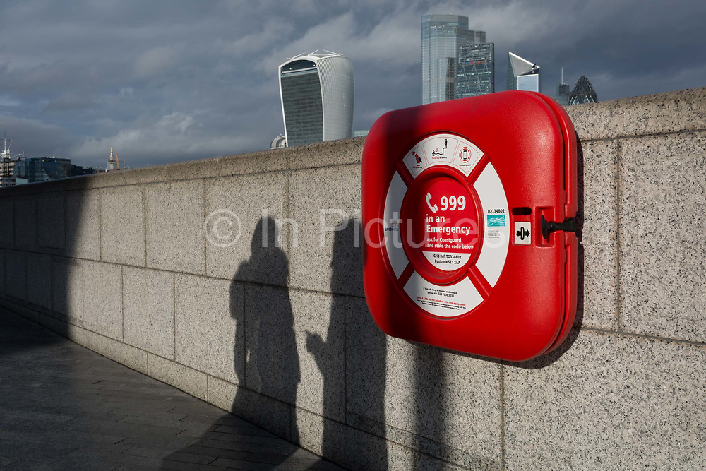 With weeks before the UKs historic Brexit date January 31st,  the Walkie-Talkie building left plus others in the capitals financial district, the City of London - aka the Square Mile - are seen from across the Thames river where a life-saving life-buoy is located to help save lives, on 16th January 2020, in London, England.