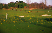 A3AAP6 Golf course driving range with yellow balls over the fairway and greens