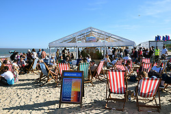 Beach bar, First Light Festival, Lowestoft Suffolk 22 June 2019. 24 hour festival across the summer solstice weekend held on the beach at Britain's most easterly point. UK