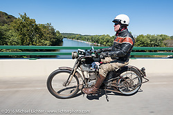 Dean Bordigioni of California riding his Class-1 single-speed single-cylinder 1914 Harley-Davidson during the Motorcycle Cannonball Race of the Century. Stage-3 from Morgantown, WV to Chillicothe, OH. USA. Monday September 12, 2016. Photography ©2016 Michael Lichter.