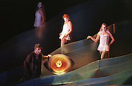 Scottish Opera's production of Das Rheingold, the first of Richard Wagner's Ring Cycle which is being staged at this year's Edinburgh International Festival, before going back for performances in Glasgow. Picture shows the Rhinemaidens Woglinde (Inka Rinn), Wellgunde (Marianne Anderson) and Flosshilde (Leah Marian Jones) in scene one during which Alberich (Peter Sidhom) steals the gold which they are guarding by the Rhine river.
