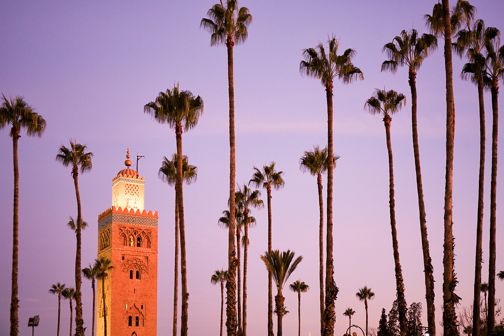 The minaret of the Koutoubia mosque in Marrakech at sunrise