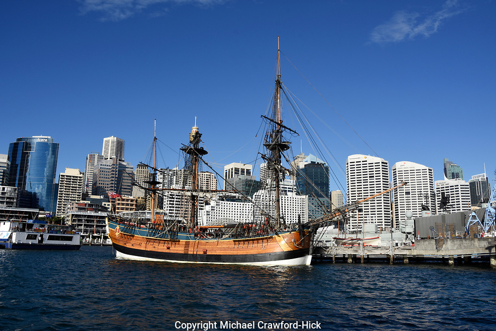 Darling Harbour, Waterfront Sydney with a Tall ship coming in