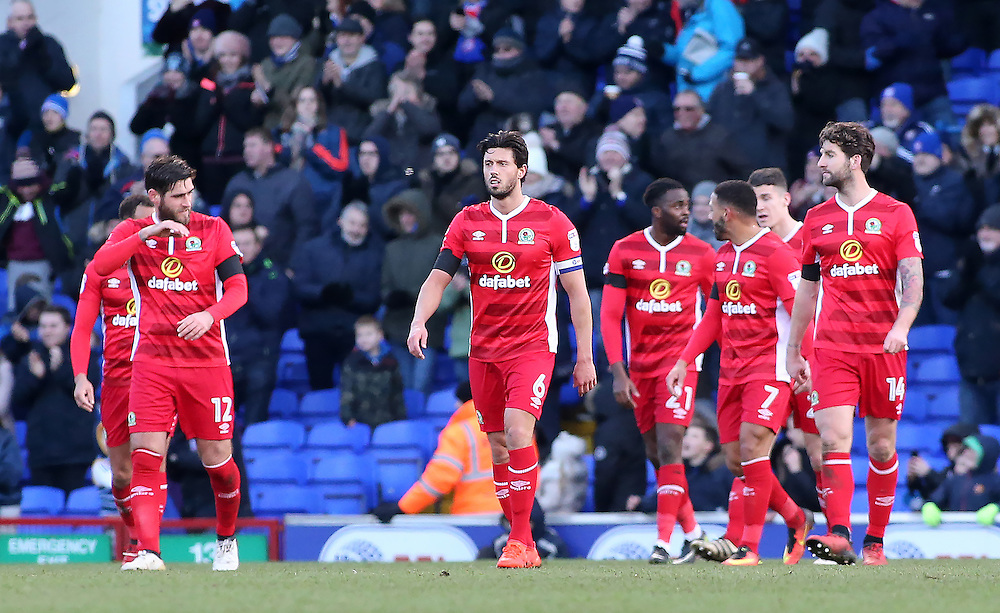 The Blackburn Rovers show their dejection after going 1-0 behind<br /> <br /> Photographer David Shipman/CameraSport<br /> <br /> The EFL Sky Bet Championship - Ipswich Town v Blackburn Rovers - Saturday 14th January 2017 - Portman Road - Ipswich<br /> <br /> World Copyright © 2017 CameraSport. All rights reserved. 43 Linden Ave. Countesthorpe. Leicester. England. LE8 5PG - Tel: +44 (0) 116 277 4147 - admin@camerasport.com - www.camerasport.com