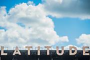The Latitude logo above the Obelisk stage - The 2016 Latitude Festival, Henham Park, Suffolk.