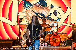 Lead singer Jesse James Dupree out front on Jackyl Thursday at the Full Throttle Saloon is always packed for this annual free concert during the Sturgis Black Hills Motorcycle Rally. SD, USA. August 7, 2014.  Photography ©2014 Michael Lichter.
