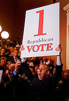 Senate President Pro Tem Darrell Steingberg, D-Sacramento,holds up a sign indicating they need only one more republican vote to pass the budget during a media gathering about the condition of the budget deal outside the Senate chambers before the Senate voted again on the budget.