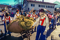 People in costume in a Fasching (Winter carnival) parade in Garmisch-Partenkirchen, Bavaria, Germany.