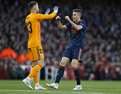 BRITAIN-LONDON-FOOTBALL-UEFA EUROPA LEAGUE-ARSENAL VS VALENCIA.(190502) -- LONDON, May 2, 2019  Valencia's Neto (L) and Gabriel celebrate the first goal during the UEFA Europa League semi-final first leg match between Arsenal and Valencia at The Emirates Stadium in London, Britain on May 2, 2019. Arsenal won 3-1.  FOR EDITORIAL USE ONLY. NOT FOR SALE FOR MARKETING OR ADVERTISING CAMPAIGNS. NO USE WITH UNAUTHORIZED AUDIO, VIDEO, DATA, FIXTURE LISTS, CLUB/LEAGUE LOGOS OR ''LIVE'' SERVICES. ONLINE IN-MATCH USE LIMITED TO 45 IMAGES, NO VIDEO EMULATION. NO USE IN BETTING, GAMES OR SINGLE CLUB/LEAGUE/PLAYER PUBLICATIONS. (Credit Image: © Matthew Impey/Xinhua via ZUMA Wire)