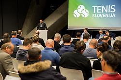 Andrej Slapar, candidate for a new president during General Assembly of Slovenian Tennis Federation, on December 12, 2018 in Kristalna palaca, Ljubljana, Slovenia. Photo by Vid Ponikvar / Sportida