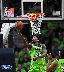 December 16, 2017 - Minneapolis, MN, USA - The Minnesota Timberwolves' Jimmy Butler (23) scores a basket off a reverse layup in the second quarter against the Phoenix Suns on Saturday, Dec. 16, 2017, at Target Center in Minneapolis. (Credit Image: © Aaron Lavinsky/TNS via ZUMA Wire)