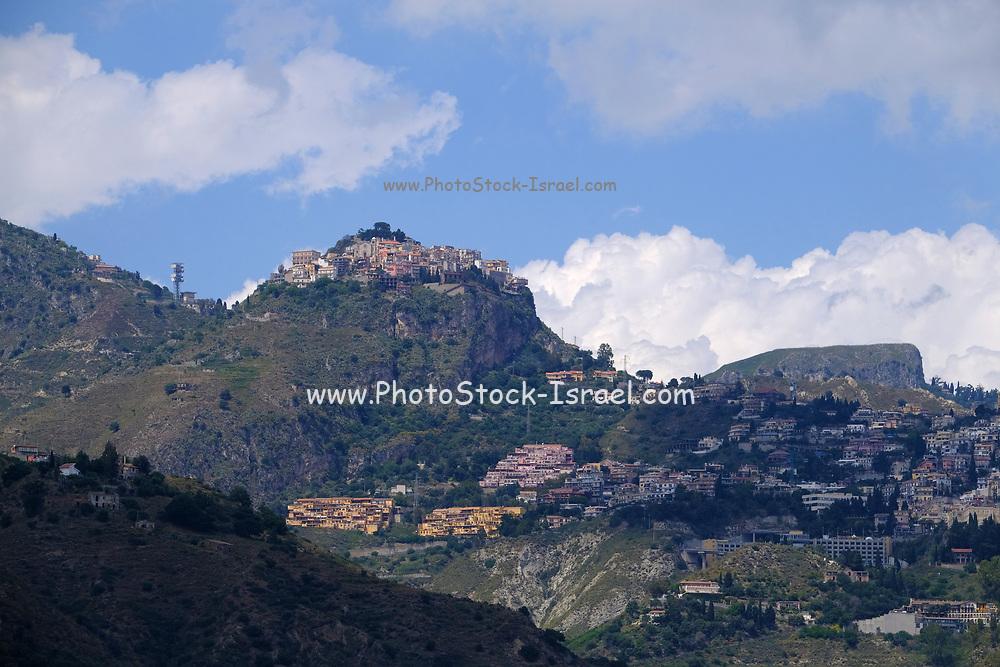 natural landscape with mountains and bay at Giardini Naxos near Taormina, Sicily, Italy