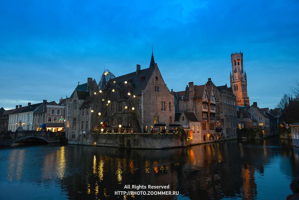 Belfort Tower And Dijver River, Brugge, Belgium