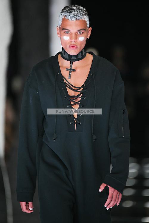 Dudley O'Shaughnessy walks the runway wearing PUMA x FENTY by Rihanna Fall 2016 during New York Fashion Week on February 12, 2016
