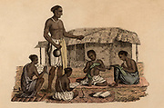 Hindu schoolmaster overseeing four boy pupils. Hand-coloured engraving published Rudolph Ackermann, London, 1822.