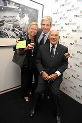 Left to right, LADY MOSS, DAMON HILL and SIR STIRLING MOSS at the TAG Heuer British Formula 1 Party at the Mall Galleries, London on 15th September 2008.