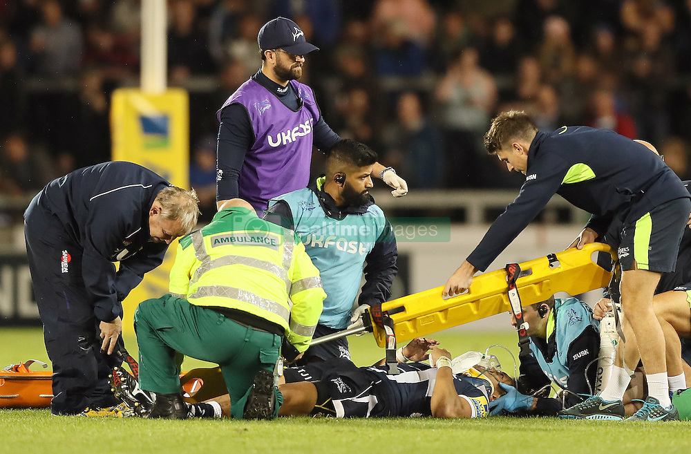 Sale Sharks' TJ Ioane receives treatment during the Aviva Premiership match at the AJ Bell Stadium, Salford.