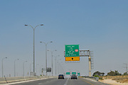 Israel, directional Road signs on a highway near of Beer Sheva
