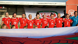 NEWPORT, WALES - Tuesday, June 12, 2018: Wales players line-up before the FIFA Women's World Cup 2019 Qualifying Round Group 1 match between Wales and Russia at Newport Stadium. L-R: Rhiannon Roberts, Helen Ward, Natasha Harding, Jessica Fishlock, Angharad James, Rachel Rowe, Hayley Ladd, Kayleigh Green, Loren Dykes. (Pic by David Rawcliffe/Propaganda)