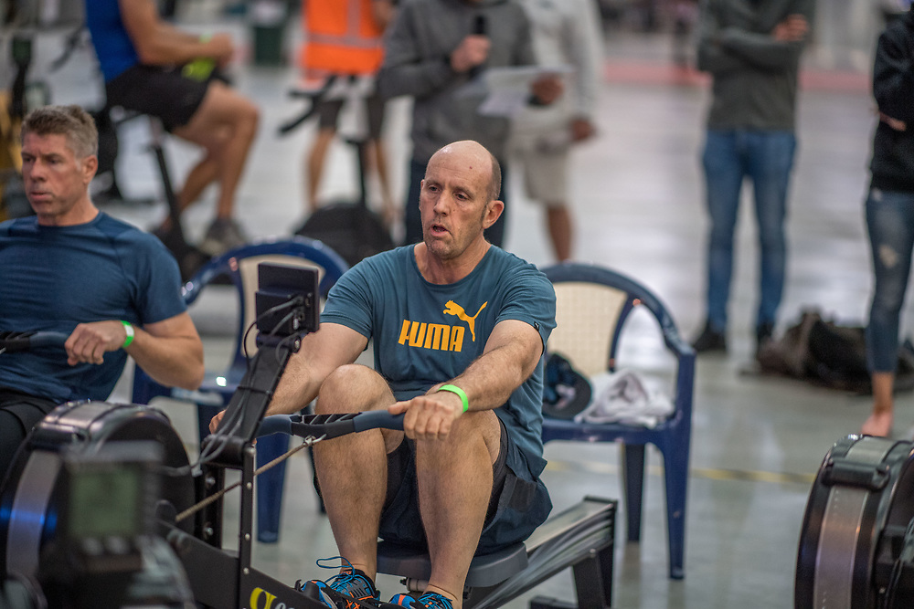 Colin Smith MALE HEAVYWEIGHT Masters D 2K Race #2  08:45am<br /> <br /> www.rowingcelebration.com Competing on Concept 2 ergometers at the 2018 NZ Indoor Rowing Championships. Avanti Drome, Cambridge,  Saturday 24 November 2018 © Copyright photo Steve McArthur / @RowingCelebration
