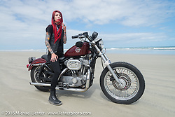 Sarah Furey and the Iron Lillies on the beach for the Hot Leathers ride during the Daytona Bike Week 75th Anniversary event. FL, USA. Tuesday March 8, 2016.  Photography ©2016 Michael Lichter.