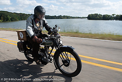 Arrie Redelinghuys riding his 1919 Triumph on the Motorcycle Cannonball coast to coast vintage run. Stage 7 (274 miles) from Cedar Rapids to Spirit Lake, IA. Friday September 14, 2018. Photography ©2018 Michael Lichter.