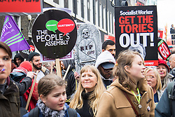 """London, April 16th 2016. Protesters gather on Gower Street as thousands of people supported by trade unions and other rights organisations demonstrate against the policies of the Tory government, including austerity and perceived favouring of """"the rich"""" over """"the poor""""."""