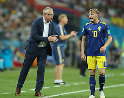 SOCHI, June 23, 2018  Head coach Janne Andersson (L) of Sweden gives instructions to Emil Forsberg during the 2018 FIFA World Cup Group F match between Germany and Sweden in Sochi, Russia, June 23, 2018. (Credit Image: © Fei Maohua/Xinhua via ZUMA Wire)