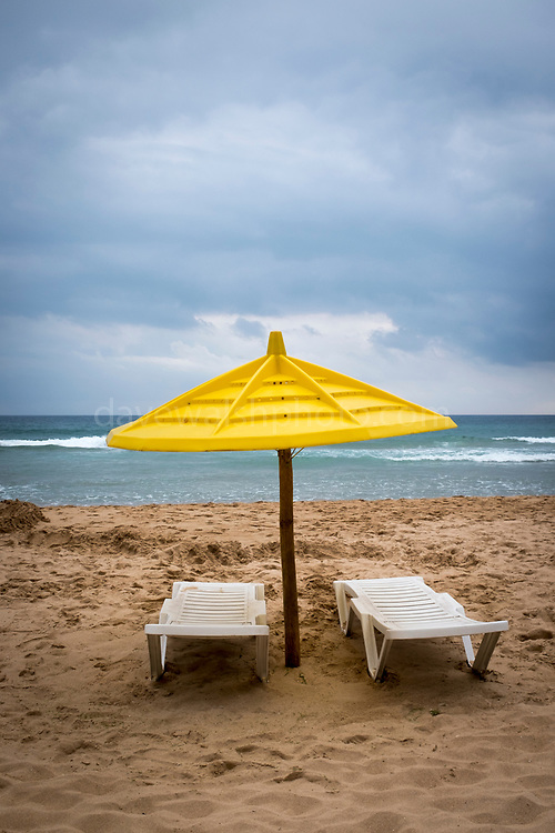 """Parasol and sunbeds, Praia do Beliche, Sagres, Algarve, Portugal This mage can be licensed via Millennium Images. Contact me for more details, or email mail@milim.com For prints, contact me, or click """"add to cart"""" to some standard print options."""