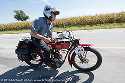 Joseph Gimpel Jr of Florida riding his Class-1 single-cylinder single-speed 1913 Thor during the Motorcycle Cannonball Race of the Century. Stage-4 from Chillicothe, OH to Bloomington, IN. USA. Tuesday September 13, 2016. Photography ©2016 Michael Lichter.