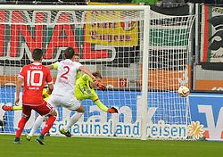 31.10.2015, WWK Arena, Augsburg, GER, 1. FBL, FC Augsburg vs 1. FSV Mainz 05, 11. Runde, im Bild Torwartaktion mit v.l. Yunus Malli #10 (FSV Mainz 05), Paul Verhaegh #2 (FC Augsburg) und Loris Karius #1 (FSV Mainz 05) // during the German Bundesliga 11th round match between FC Augsburg and 1. FSV Mainz 05 at the WWK Arena in Augsburg, Germany on 2015/10/31. EXPA Pictures © 2015, PhotoCredit: EXPA/ Eibner-Pressefoto/ Hiermayer<br /> <br /> *****ATTENTION - OUT of GER*****