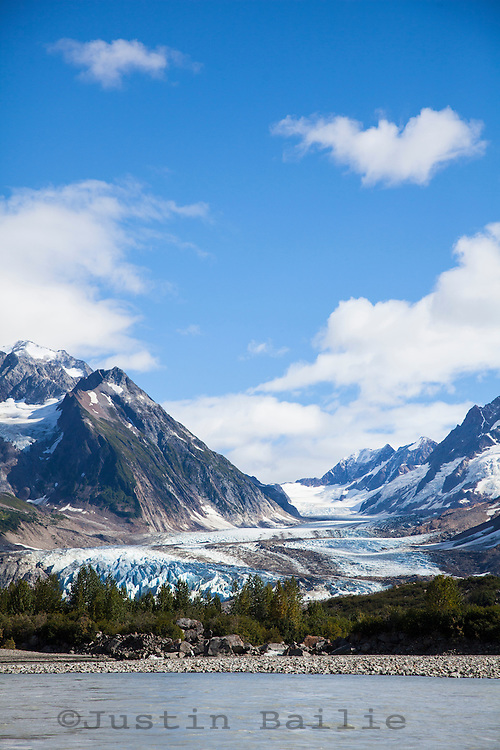"""Large glacier as seen while on raft trip down the Tashenshini River. The """"Tat"""" flows out of Yukon, CA, through British Columbia and empties into Glacier Bay National Park in Alaska, US."""
