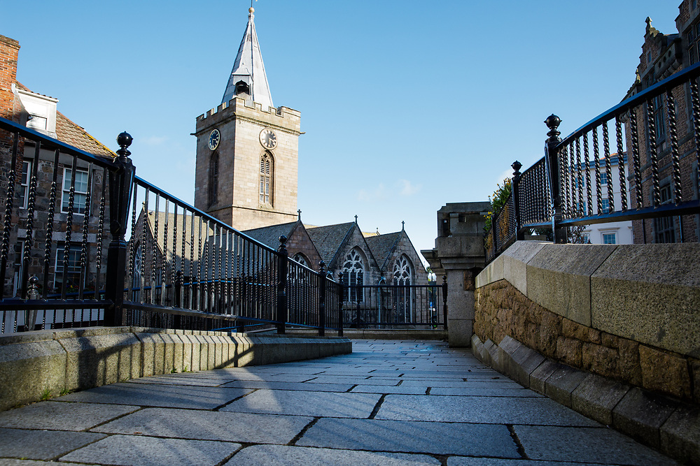 The Town Church, a landmark in the historic old town of St Peter Port, Guernsey, Channel Islands