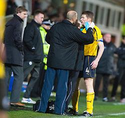 Falkirk's Darren Dods gets treatment..Dunfermline 0 v 1 Falkirk, 26/12/2012..©Michael Schofield.