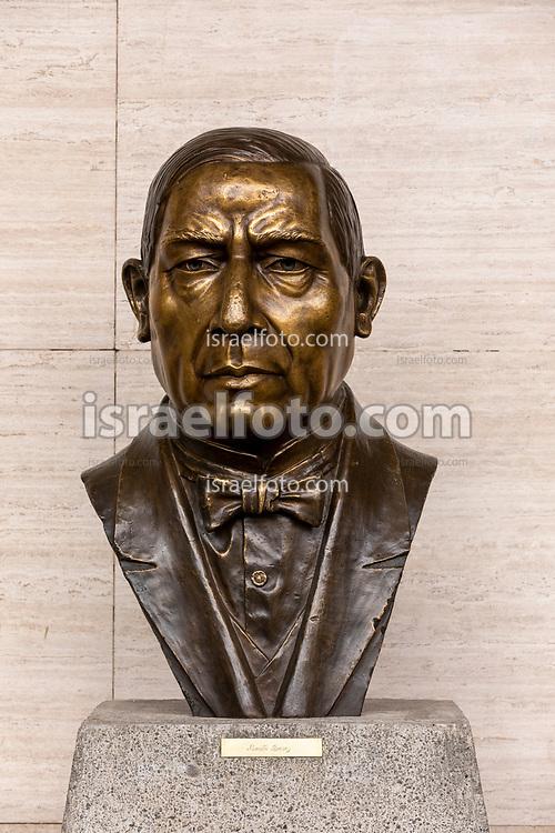 28 de agosto de 2020. Ciudad de México. Busto de Benito Juárez en el palacio legislativo de San Lázaro   /  Bust of Benito Juarez at the legislative palace of San Lazaro.