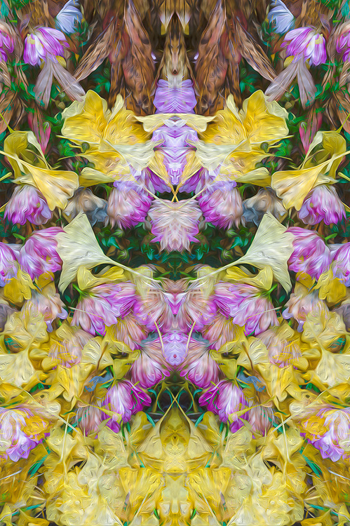 """""""Leslie's Garden Keepers"""", derivative image created from a photo of a private residence garden, Port Angeles, Washington, USA"""