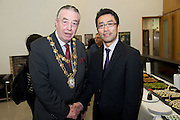 19/03/2014 At a Japanese evening at the Galway Education Centre was City Mayor Cllr Padraic Conneelly,  and  Yuichi Yamada, Second Secretary of the Japanese Embassy in Ireland. Photo:Andrew Downes .