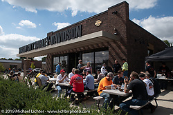 Hosted lunch stop at Mason City Harley-Davidson during the Motorcycle Cannonball coast to coast vintage run. Stage 7 (274 miles) from Cedar Rapids to Spirit Lake, IA. Friday September 14, 2018. Photography ©2018 Michael Lichter.