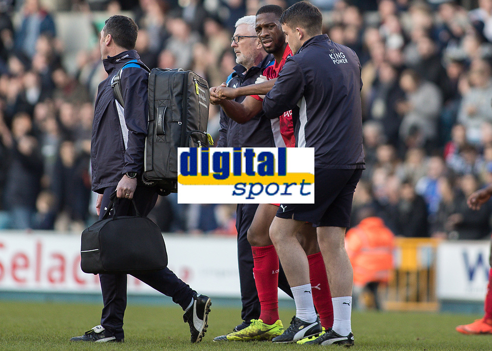 Football - 2016 / 2017 FA Cup - Fifth Round: Millwall vs. Leicester City <br /> <br /> Wagne of Leicester City feels the pain at The Den<br /> <br /> COLORSPORT/DANIEL BEARHAM
